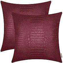 BRAWARM Pack of 2 Crocodile Faux Leather Cushion