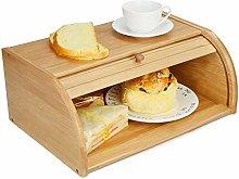 Bread Bin Bamboo Wood with Sliding Lid Bread