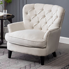 Bread Buttoned Armchair Single Sofa, Beige