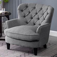 Bread Buttoned Armchair Single Sofa, Grey