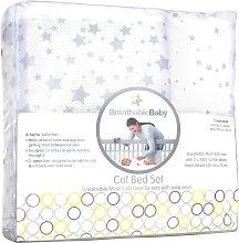 BreathableBaby Twinkle Cot Bed Set - Grey
