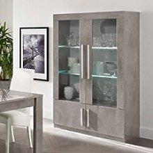 Breta Display Cabinet In Grey Marble Effect High