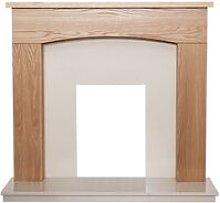 Bretton Fireplace in Oak & Beige Marble, 48 Inch -