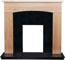 Bretton Fireplace in Oak & Black Granite Stone, 48
