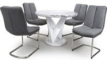 Brezza Round Marble Effect Dining Table With 4