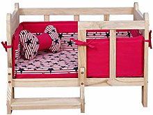 BRFDC Pet Bed Solid Wood Pet Bed, Kennel Dog Bed,