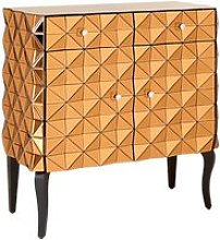 Brice Glass Storage Cabinet In Copper With Wooden