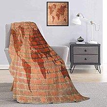 Brick Wall Blanket Brick Wall with World Atlas Map