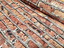 BRICK WALL Effect Cotton Fabric - Red Bricks Stone