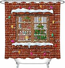Brick Wall Snow Window Christmas Tree Fireplace