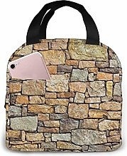 Brick Yellow Stone Wall Lunch Bag Tote Bag Lunch