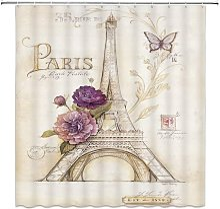 Briday - butterfly Paris shower curtain flower