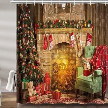 Briday - Christmas Decor Shower Curtain, Xmas Tree