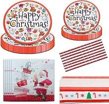 Briday - Christmas Disposable Dinnerware Set, 86