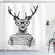 Briday - Deer Shower Curtain, Reindeer Head Human