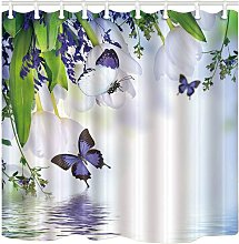 Briday - floral shower curtain, purple butterfly