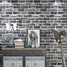 Briday - Gray Brick Wallpaper Roll Faux Stone Flat