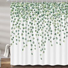 Briday - Green Plant Leaf Shower Curtain for