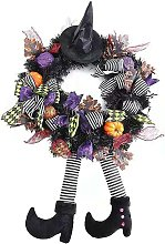 Briday - Halloween Wreath, Witch Pumpkin Halloween Garland Deco for Haunted House Party Ornaments 60 x 30 cm