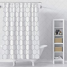 Briday - Hexagon Fabric Shower Curtain for