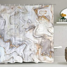 Briday - Marble shower curtain, gray gold white