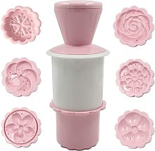 Briday - Moon Cake Moon Mold, 1 Flower Shaped Cookie Press with 6 Patterns, Customizable Cookie Stamp Baking Cake Decorating Utensils - Pink