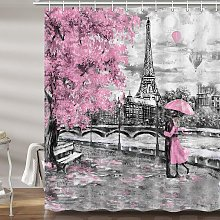Briday - Pink and Gray Paris Shower Curtain for