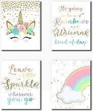Briday - Rainbow Unicorn Theme Art Prints
