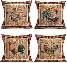 Briday - Vintage Farm Rooster Hen Throw Pillow