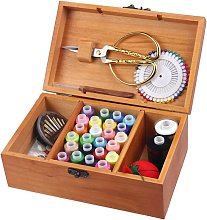 Briday - Wooden Sewing Basket/Sewing Box with Sewing Kit Accessories - Box for Organizer with Wooden Storage Basket with Professional Hand Sewing Supplies
