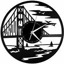 Bridge type vinyl wall clock, vinyl record home