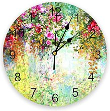 Bright Floral PVC Wall Clock, Silent Non-Ticking