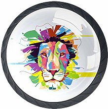 Bright Lion (4 PCS) Colorful Crystal Glass