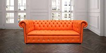 Bright Orange Leather Chesterfield Crystallized