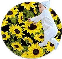 Bright sunflower, Kids Round Rug Polyester Throw