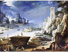 Bril Riverview Large White Rock Landscape Painting