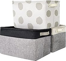 BrilliantJo 3 PCS Storage Box with Leather