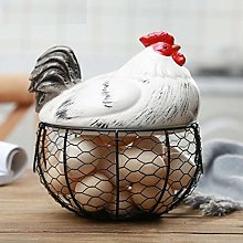 briskay Egg Holder Chicken Shape Ceramics Metal
