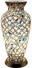 Britalia LED Blue Mosaic Tile Vintage Vase Table