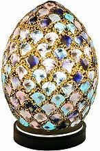 Britalia LED Blue & Pink Mosaic Glass Vintage Egg