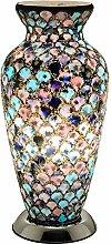 Britalia LED Blue & Pink Mosaic Glass Vintage Vase