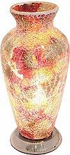 Britalia LED Red Mosaic Glass Vintage Vase Table