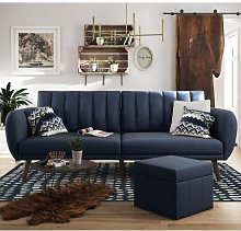 Brittany Linen Sofa Bed In Navy Blue With Wooden