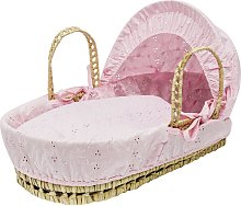 Broderie Anglaise Dolls Moses Basket - Pink