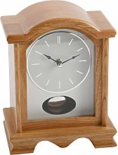 Broken Arch Oak Finish Wooden Mantel Clock with