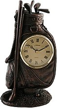 Bronze Finish Mantel Clock - Golf Bag Design