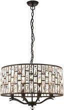 Bronze Pendant with 8 Lights & Glass Crystals -