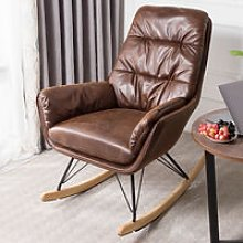 Bronzing Leather Rocking Chair Armchair, Brown