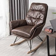 Bronzing Leather Rocking Chair Armchair, Dark Brown