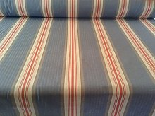 Brook Herringbone Woven Stripe Blue/Orange Cotton